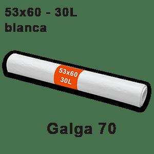 Rollo bolsa basura blanca 53x60 Galga 70