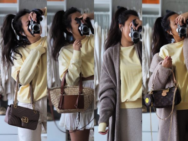 The pale yellow Sweater: 4 Seasons, 4 Outfits.