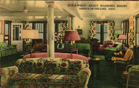A post card image captures the comfort and restfulness of Ramsey's Idle-A-While's dining room.