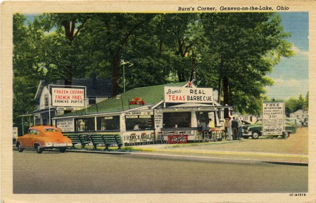 Burn's Corner was located at the intersection of Lake Road and Old Lake Road, at the east end of The Strip.