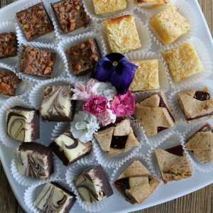 tray, platter, cookies, squares, desserts, home made, house baked, catering, easy entertaining
