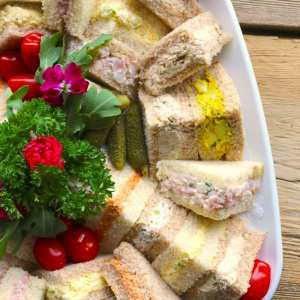 tea, sandwiches, platter, catering, lunch, easy entertaining, platters