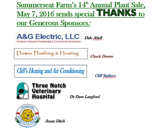 Thank You to Summerseat Farm Sponsors!