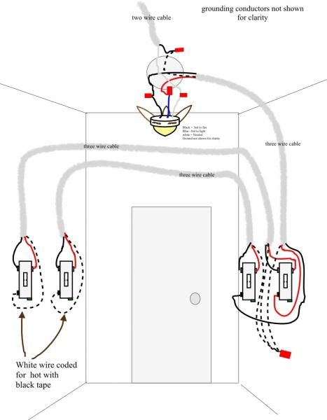Wiring Diagram For Light And Power : Wiring a ceiling fan with two three way switches