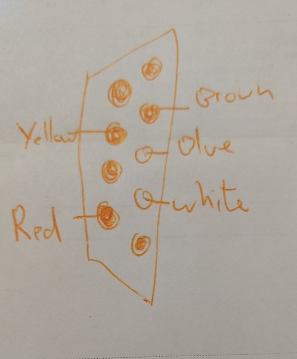 medium resolution of the pinout for the wire colors at the end of the cable is as follows