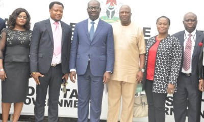 Edo State Governor, Mr. Godwin Obaseki (3rd left); Secretary to the State Government, Osarodion Ogie Esq. (3rd right); Commissioner for Justice and Attorney General, Professor Yinka Omorogbe (2nd right); State Solicitor General, Oluwole Iyamu (right); Chairman, Edo State Branch of the Nigerian Bar Association (NBA), Prince Collins Ogiegbaen (2nd left); and the Vice Chairman, Violet Olumeseh (left), during the courtesy visit by newly elected executives of the NBA, at Government House in Benin City, Edo State.