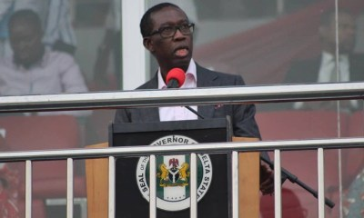 Delta State Governor, Senator Ifeanyi Okowa during 2018 edition of the State Festival of Nine Lessons and Carols held at the Stephen Keshi Stadium, Asaba.