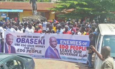 Youths under the aegis of Concerned Edo Youths during a protest in support of Governor Godwin Obaseki's governance style, at the Nigerian Union of Journalists (NUJ) Secretariat in Benin City, Edo State capital, on Tuesday, May 28, 2019