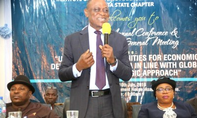 Commissioner for Higher Education, Prof Patrick Muoboghare (middle standing), representing Governor Ifeanyi Okowa, representative of the Speaker, Delta State House of Assembly, Hon Charles Emetulu (left), and the representative of the State Chief Judge, Justice (Mrs) N.O. Omovie, during an annual Conference and General Meeting of the Institute of Strategic Management, Nigeria (ISMN), Delta State Chapter in Asaba.
