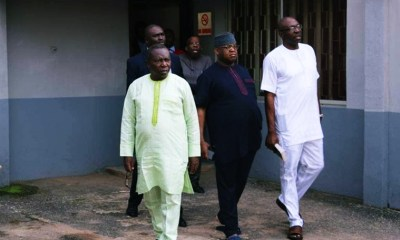R-L: Edo APC Chieftain, Osagie Ize-Iyamu, Edo PDP Chairman, Dan Orbih after the court proceedings.