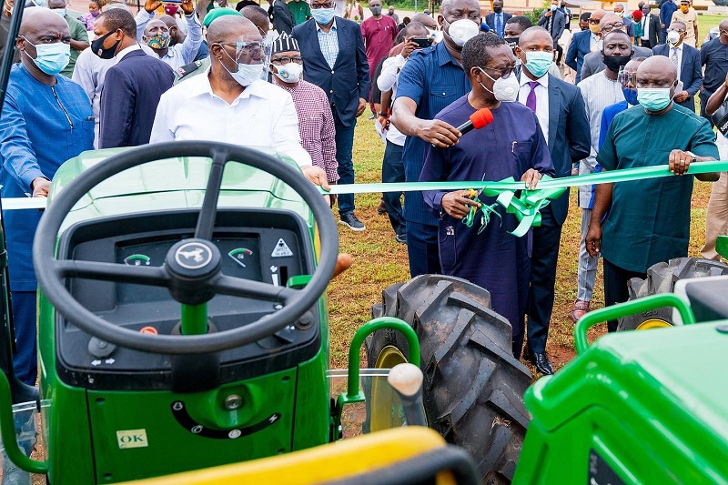 Delta Governor, Senator (Dr.) Ifeanyi Okowa (middle), flanked by his Deputy, Barr. Kingsley Otuaro (left), and the Commissioner for Agriculture, Hon Julius Egbedi (right), and others duringthe inauguration of Twenty Unit of Tractors and Farm implements for the enhancement of Agriculturalactivities in the State on Wednesday, September 2, 2020. (PIX: BRIPIN ENARUSAI)