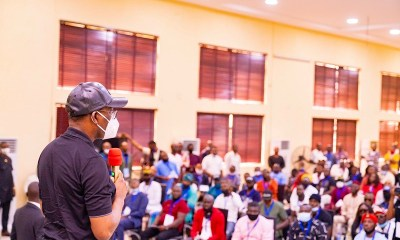 EndSARS: Delta Governor, Senator Dr. Ifeanyi Okowa addressing Delta Youths, during a Town Hall meeting with them in Warri on Thursday, October 29, 2020