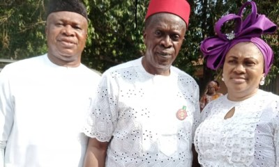 Chief Azuka Okwuosa (left) and Anambra State APC Chairman Chief Basil Ejidike and Wife during an event.
