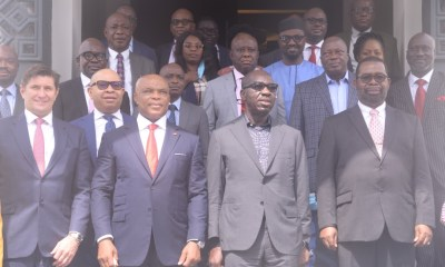 L-R (front row): Chief Executive Officer, Seplat Petroleum Development Company, Mr. Roger Brown; Chairman, Seplat Petroleum Development Company, Dr. ABC Orjiako; Edo State Governor, Mr. Godwin Obaseki and Independent Non-Executive Director, Seplat Petroleum Development Company, Mr. Basil Omiyi during a courtesy visit to the governor by the management team of Seplat Petroleum Company Limited at Government House in Benin City on Friday, November 20, 2020