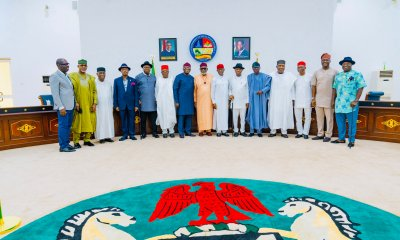 From Left: Governor Godwin Obaseki of Edo; Dapo Abiodun of Ogun, Akwa Ibom Deputy Governor, Moses Ekpo; Governor Willie Obiano of Anambra, Douye Diri of Bayelsa, Ebonyi's David Omahi, Kayode Fayemi of Ekiti, Chairman, Southern Governors Forum and Govenor of Ondo, Rotimi Akeredolu; Senator Ifeanyi Okowa of Delta, Nyesom Wike of Rivers, Babajide Sanwolu of Lagos, Enugu State's Ifeanyi Ugwanyi, Imo Deputy Governor, Placid Njoku; Oyo State Governor, Seyi Makinde and Okezie Ikpeazu of Abia in a photograph after Southern Governors meeting at Government House, Asaba on Tuesday, May 11, 2021