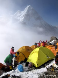 Camp 3 on K2 with Broad Peak behind