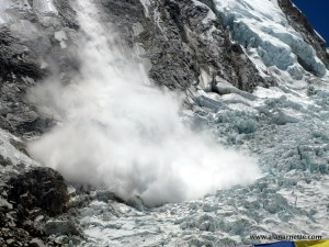 Ice Serac release off Everest West Shoulder onto Khumbu Icefall