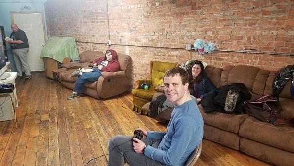 Video game night at base