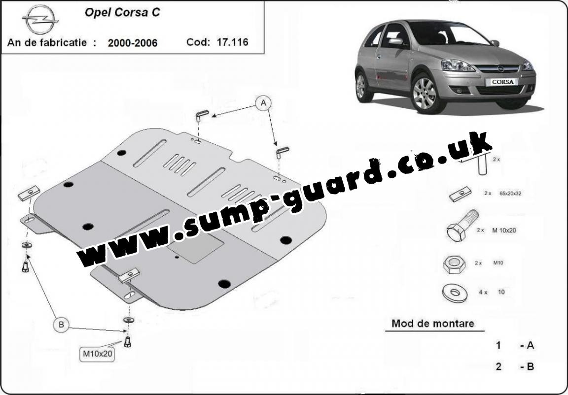 Steel sump guard for Vauxhall Corsa C