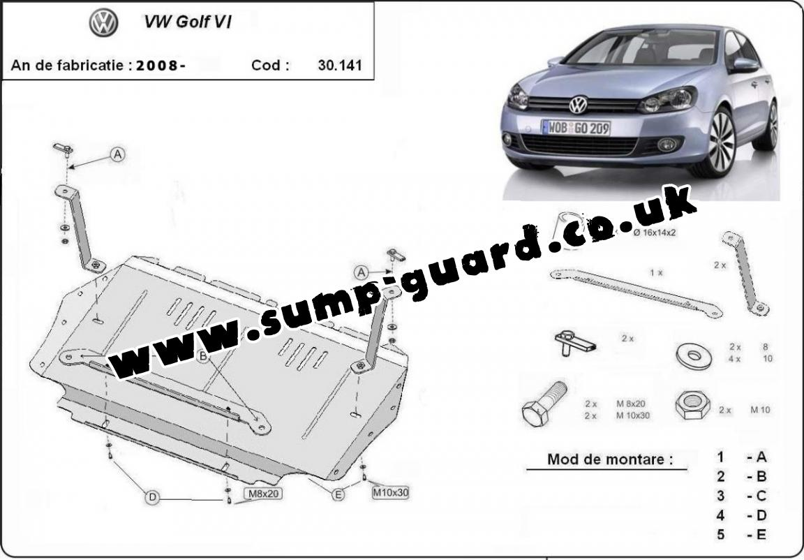 Steel sump guard for VW Golf 6
