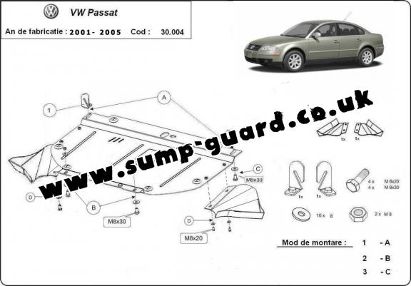 Steel sump guard for VW Passat