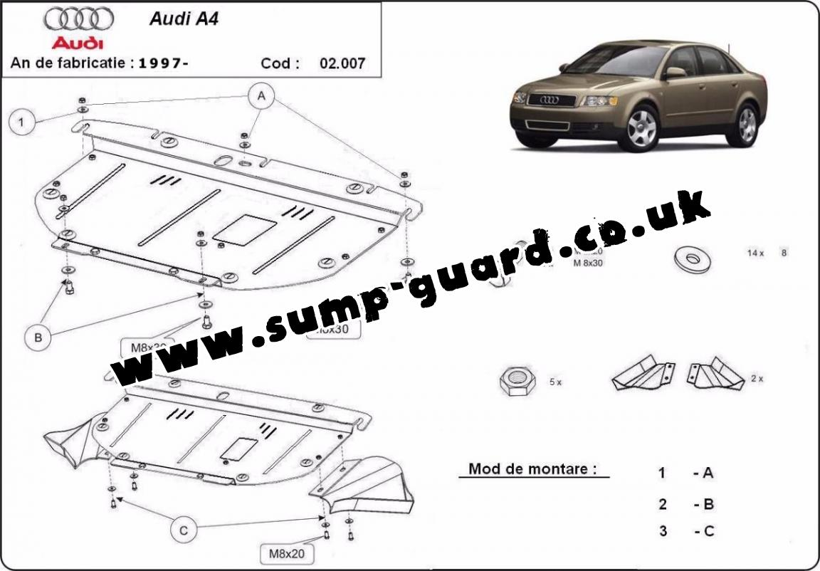 Steel sump guard for Audi A4 2