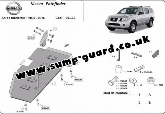 Steel fuel tank guard for Nissan Pathfinder D40