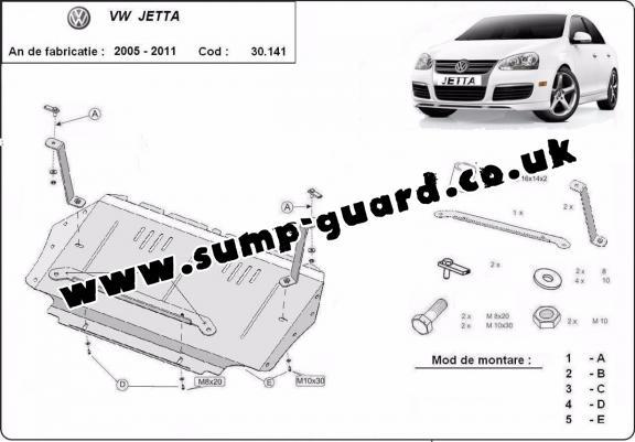 Steel sump guard for VW Jetta