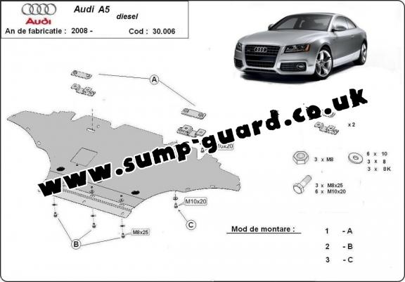Steel sump guard for Audi A5