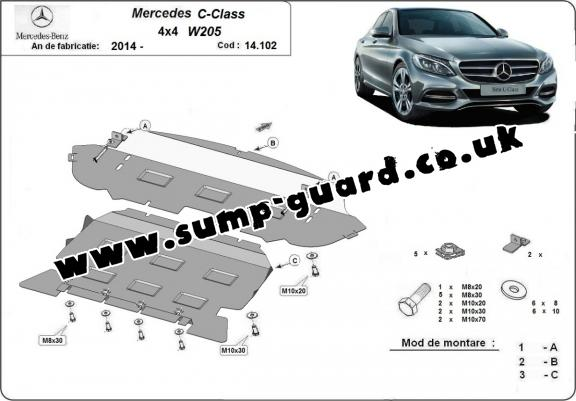 Steel sump guard for Mercedes C-Class W205 4x4