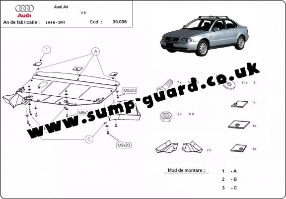 Steel sump guard for Audi A4 1