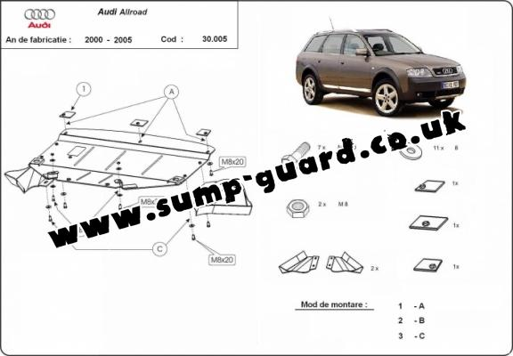 Steel sump guard for Audi Allroad