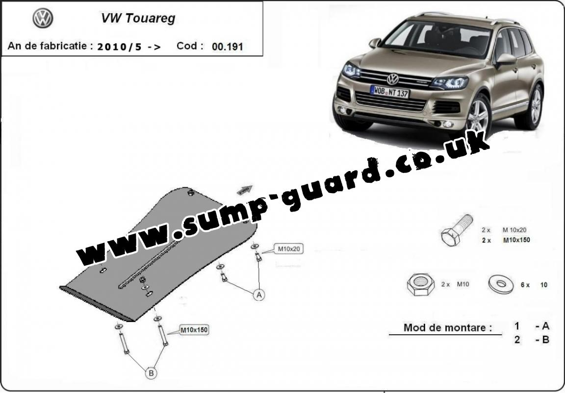 Steel gearbox guard for VW Touareg