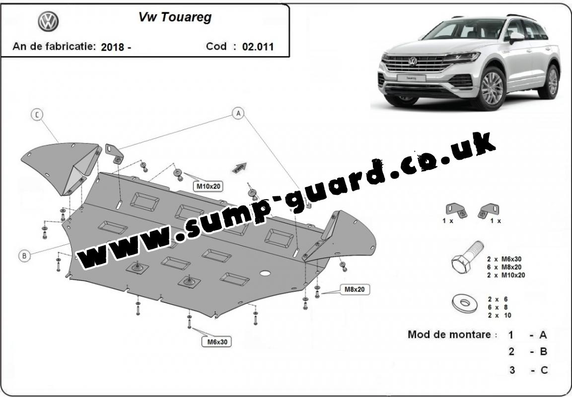 Steel sump guard for Volkswagen Touareg