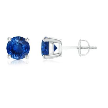 Round Blue Sapphire Stud Earrings