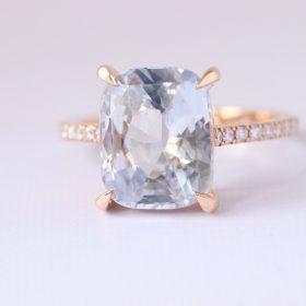 5 carat white Sapphire Diamond ring rose gold