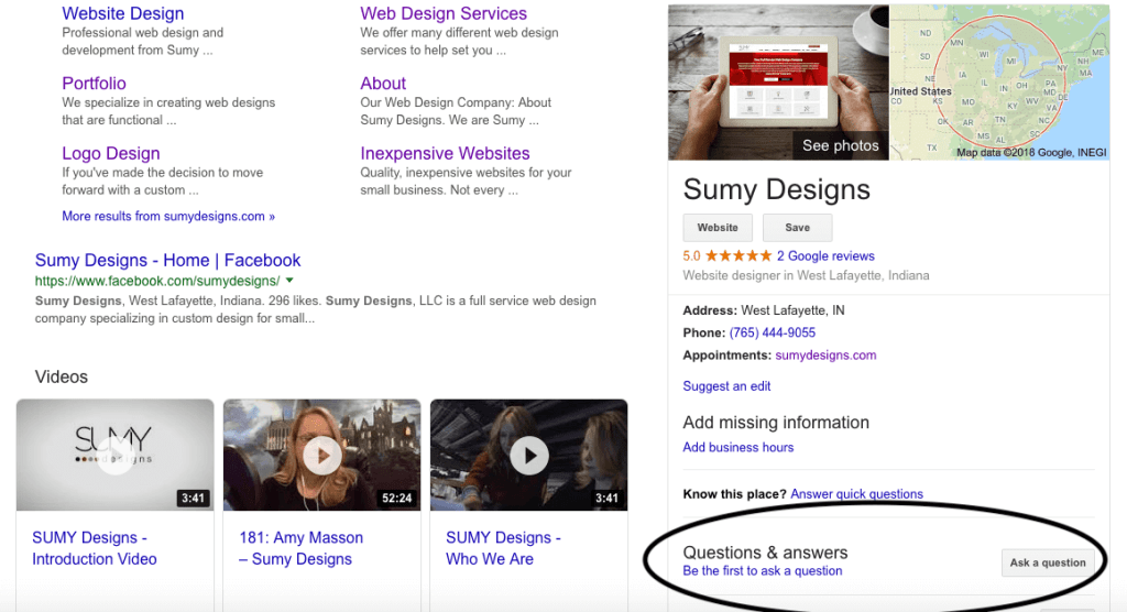 Google My Business Q&A section