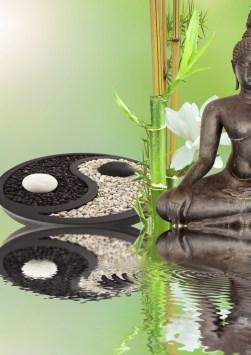 composition zen, bouddha noir, bambou, yin yang