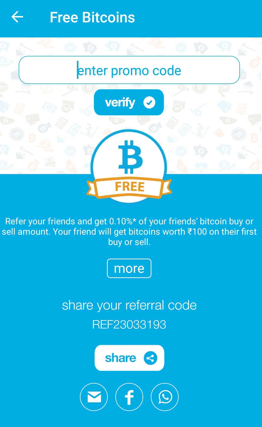 Free Bitcoin Worth Rs 100 For New Users From Zebpay Indian Bitcoin -