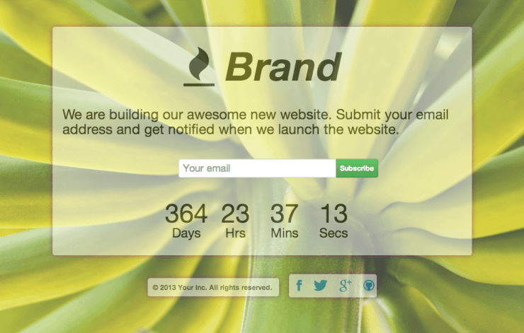 Coming soon page built on Twitter Bootstrap