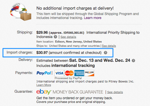 Estimated import charges are displayed on the product page.