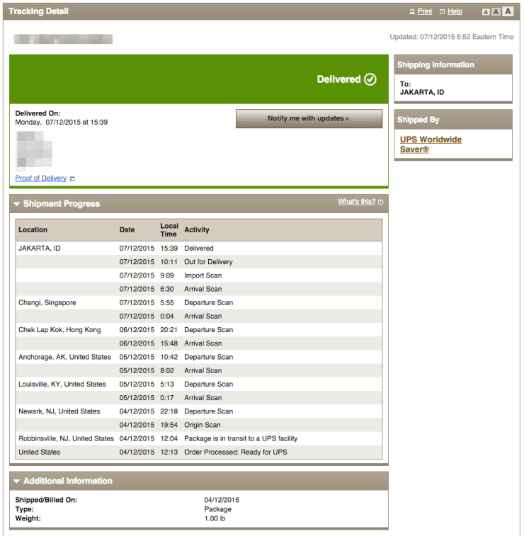 UPS Tracking Information
