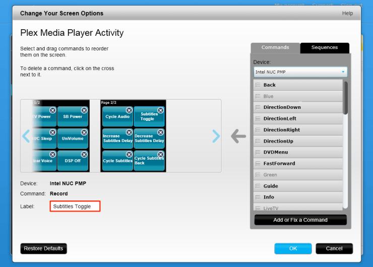 Plex Media Player – MyHarmony Labels