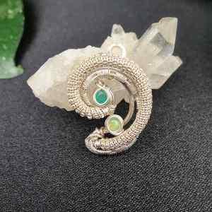 Smaragd-Opal-Anhänger Silberanhänger Silberschmuck