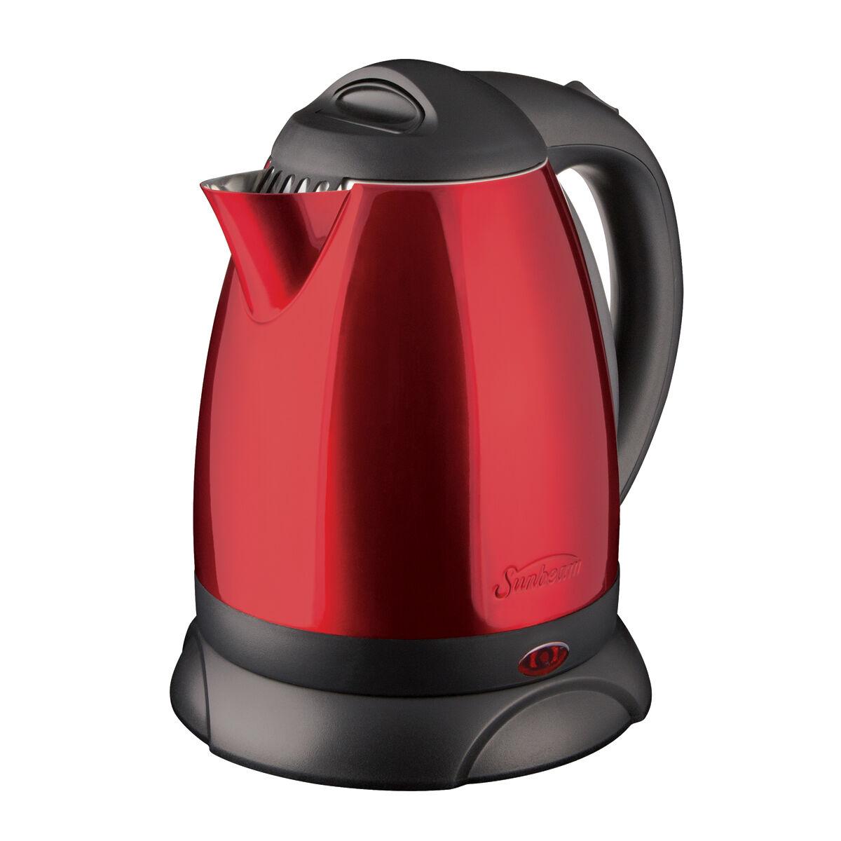 sm kitchen appliances sink grinder sunbeam® 1.7l cordless electric kettle, jester red 3234jr ...