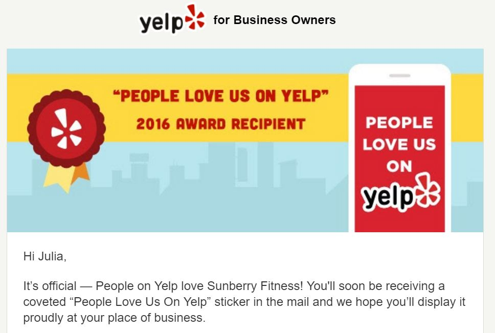 "Sunberry Fitness receives 2016's ""People Love Us on Yelp"" Award"