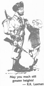 A rare cartoon by RK Laxman depicting the valour of the Indian Jawan