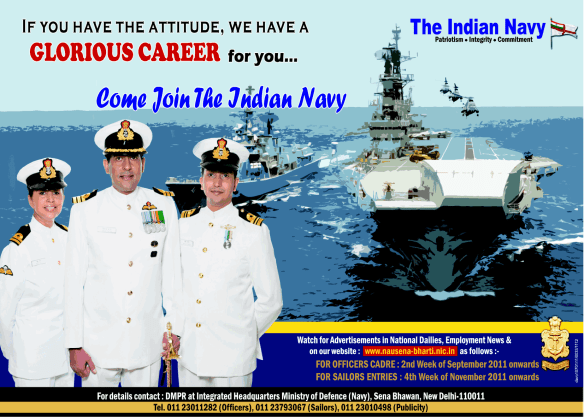 """An ad for recruitment in the Indian Navy acknowledges that """"Attitude"""" is the most important attribute."""