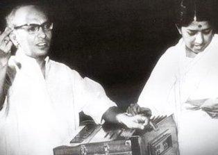Music Director Jaidev with Lata Mangeshkar