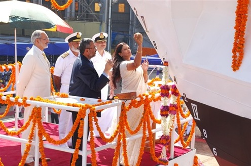 INS Sudarshini, the second of Sail Training Ships (first being INS Tarangini) being launched by Smt Letha Sushil wife of Vice Admiral K N Sushil, Flag Officer Commanding-in-Chief Southern Naval Command at Goa Shipyard